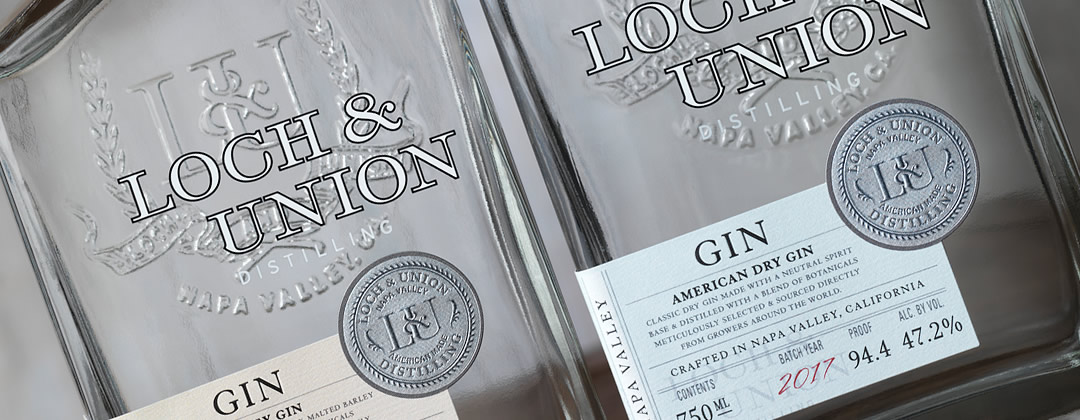 Loch & Union american dry gin bottle and barley gin bottles
