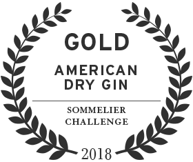 2018 gold award for american dry gin from the sommelier challenge