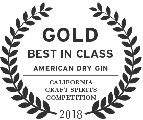 2018 gold best in class award from the california craft spirits competition for american dry gin