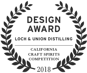 2018 design award from the california craft spirits competition to loch & union distilling