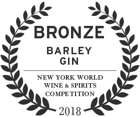 Bronze award for barley gin in 2018 from the new york world win and spirits competition